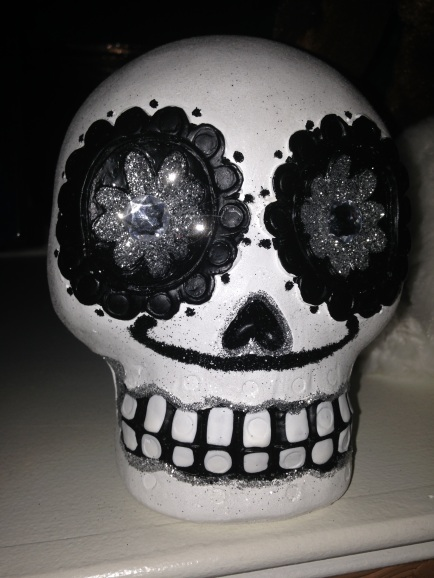 white skull head prop